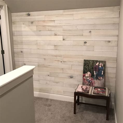create  accent wall  white washed boards