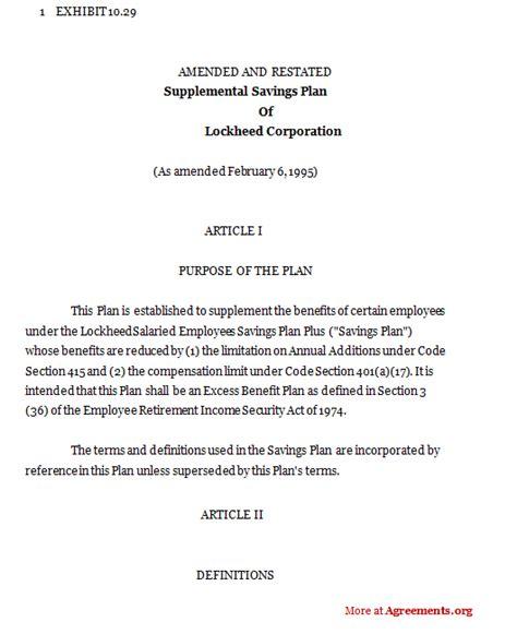 Suplemen L supplemental agreement template supplemental savings plan of lockheedsle supplemental savings