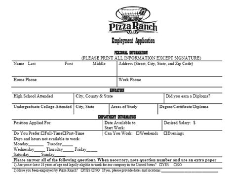 printable job application for cici s pizza pizza ranch application pdf print out