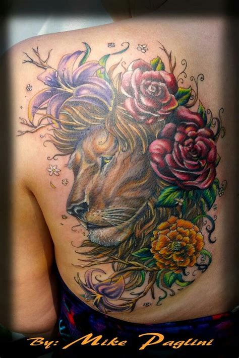 lion and flowers by mike paglini tattoo designs