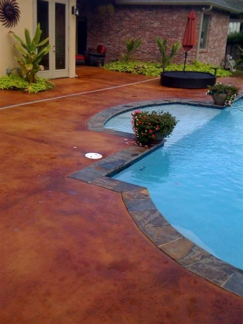 stained concrete pool deck    color  pinto