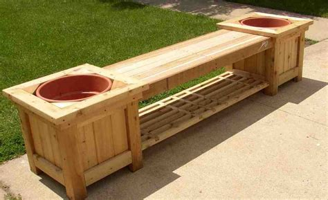 planter seat bench outdoor storage bench with planters home furniture design