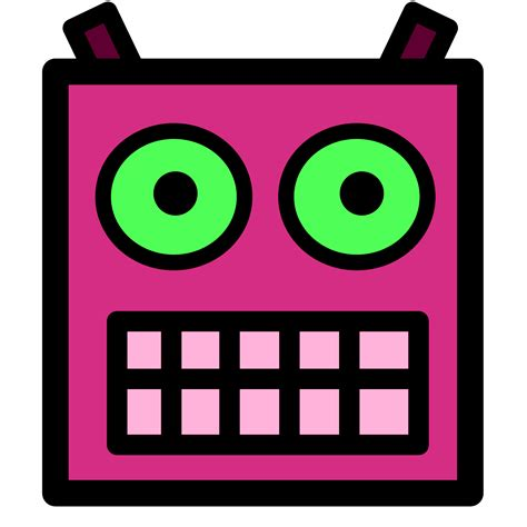 printable robot eyes file pink or plum robot face with green eyes png