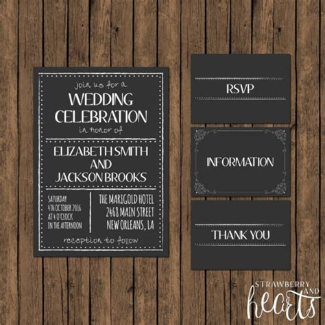 26 chalkboard wedding invitation templates free sle
