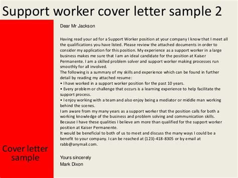 Support Worker Cover Letter No Experience Support Worker Cover Letter
