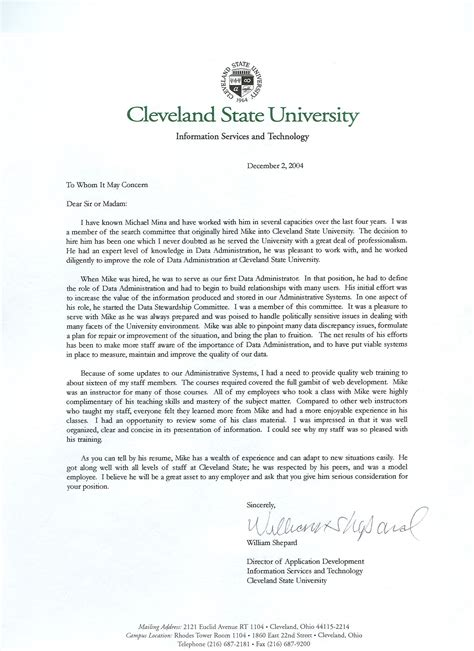 College Applicant Letter Of Recommendation Sle Michael Mina S Website