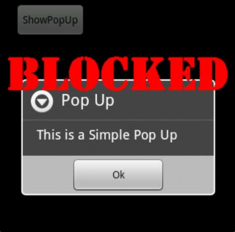 turning on pop up blocker for android - Android Pop Up Blocker