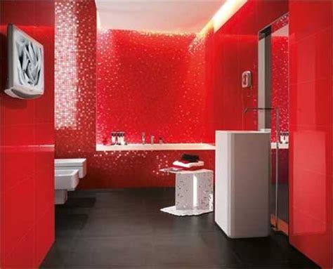 red bathroom ideas home design inside modern wall tiles in red colors creating stunning bathroom