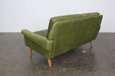 mid century leather loveseat mid century modern green leather loveseat by skippers