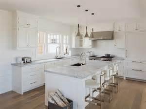 Shiplap Backsplash White Cottage Kitchen With White Leather Counter Stools