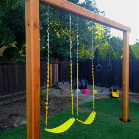 swing ground our new swing set 2 6x6x10 1 6x6x12 sink them in the