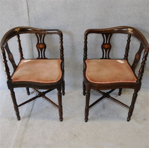 Pair Of Inlaid Corner Chairs Chairs Dining Sets Corner Dining Chairs