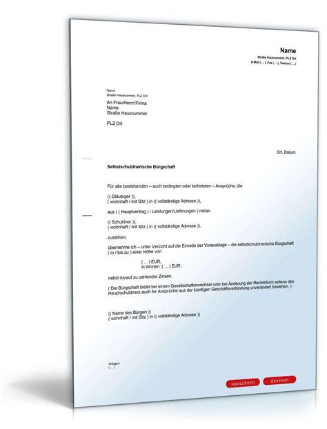 Wie Kündige Ich Einen Mietvertrag by Selbstschuldnerische B 252 Rgschaft Als Brief Muster Vorlage
