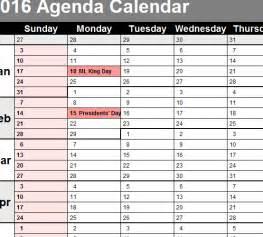 Agenda Calendar Template 2016 agenda calendar