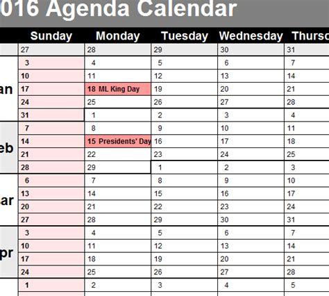 Calendar Agenda 2016 Agenda Calendar