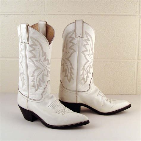 vintage 1980s justin white leather cowboy boots s 6