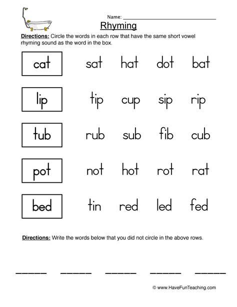 worksheet rhyming words rhyming worksheets teaching