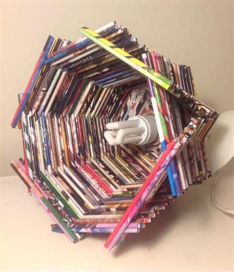 canasta echa en revista lara de techo hecha con papel de revistas magazine