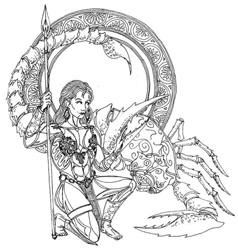 adult coloring page astrology scorpio 13