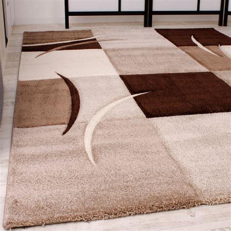 teppich beige braun designer teppich mit konturenschnitt karo muster braun