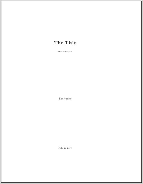 How To Make A Cover Page For A Paper - a title page with a subtitle in memoir tex