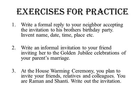 Invitation Letter Exercises Welcome Ppt