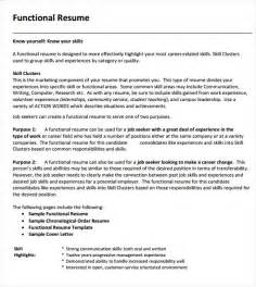 Exle Of A Functional Resume by Functional Resume Templates 8 Sles Exles Format