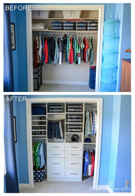 organized boys room closet    organizing