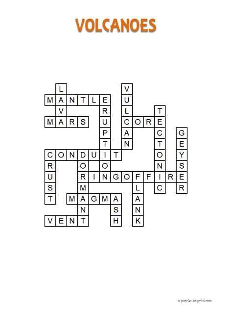 Volcano Crossword Puzzle Printable