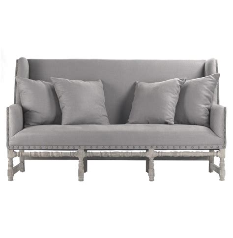 gray settee ausbert french country grey linen dining bench sofa