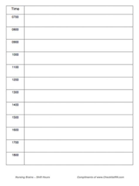 Free Customizable Editable Nurse Brain Sheets Checklistrn 24 Hour Nursing Shift Report Template