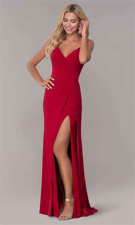 neck dave  johnny prom dress  slit promgirl