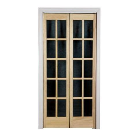 36 Inch Bifold Closet Doors Pinecroft 36 In X 80 In Classic Glass Wood Universal Reversible Interior Bi Fold Door