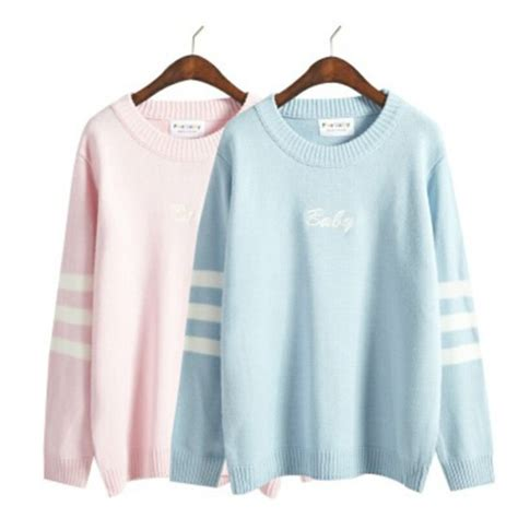 Kawai Sweater Pink sweater jumper oversized blue pink baby blue baby pink pastel kawaii pastel