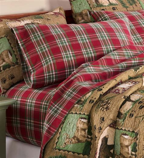 king lodge plaid flannel sheet set collection accessories bedrooms plaid bedding bed
