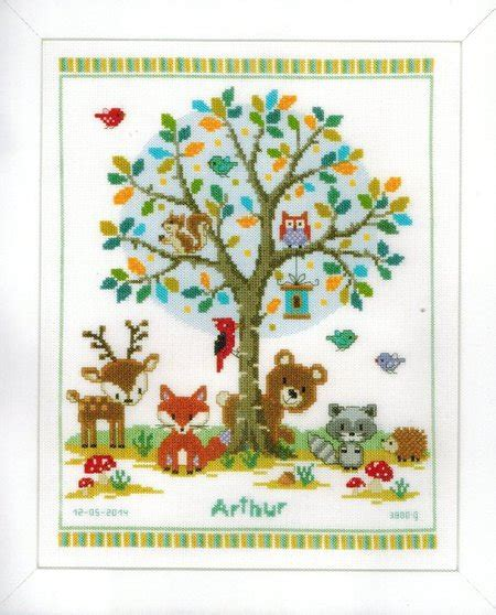 Birth Record Cross Stitch Kits Vervaco In The Woods Birth Record Cross Stitch Kit 149396 123stitch
