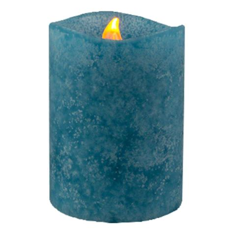 Colored Flameless Candles With Timer by Gerson 43294 3 Quot X 4 Quot Sea Blue Vanilla Scent Wavy Edge