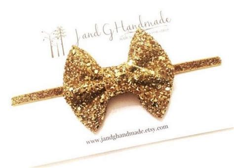 Headband Bayi Glitter Gold Bow baby child gold glitter headband hair clip baby hair bow headband child headband