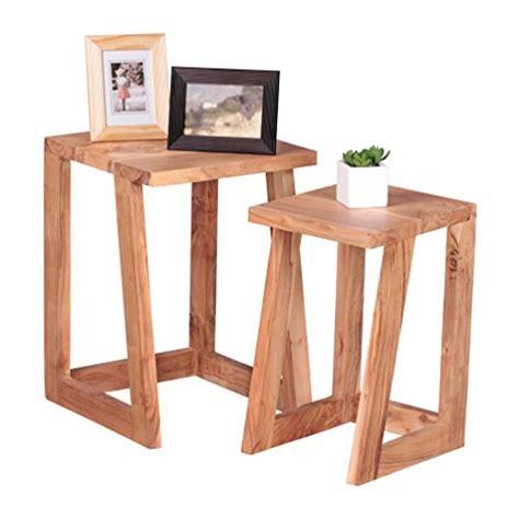 Nachttisch Dunkel by Wohnling 2er Set Beistelltisch Massiv Holz Design