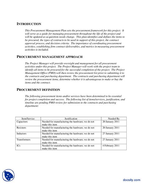 procurement management plan template doc procurement management plan exle engineering project