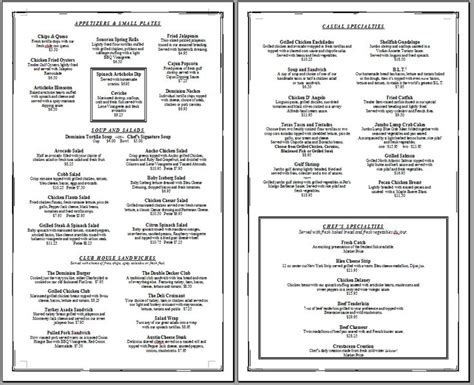 dinner menu templates free 6 best images of printable blank restaurant menus free