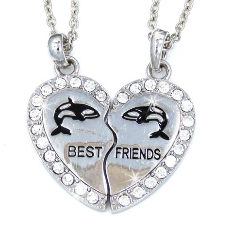 best friend whale silver tone 2 charm 2 necklaces