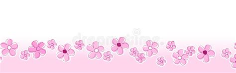 pink pattern header spring flowers footer header stock vector illustration