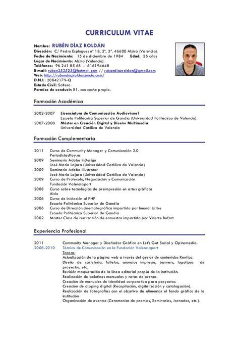Modelo Curriculum Camarero En Ingles Curr 237 Culum Vitae Rub 233 N D 237 Az