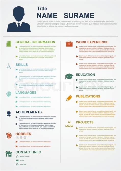 Infographic Template With Icons For Cv Personal Profile Resume Organisation Stock Vector User Profile Website Template Free