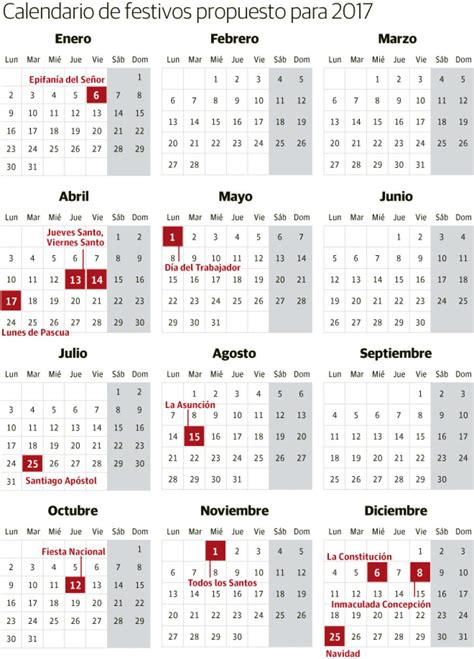 Calendario Laboral Enero 2017 Madrid Calendario Laboral De 2017 Festivos Y Puentes