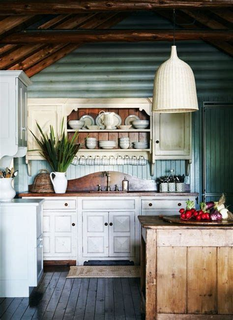 cozy cabin rustic cabin interiors pinterest vaulted cozy log cabin kitchen with blue painted interior wood