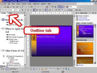 Powerpoint Outline Tab related keywords suggestions for slides tab