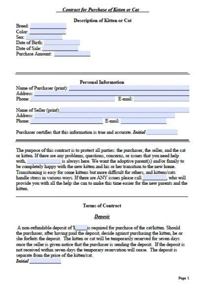 Free Cat Bill Of Sale Kitten Form Pdf Word Doc Spay And Neuter Contract Template