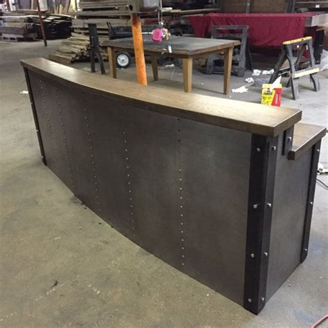 custom made reception desk crafted restaurant business sleek metal front desk